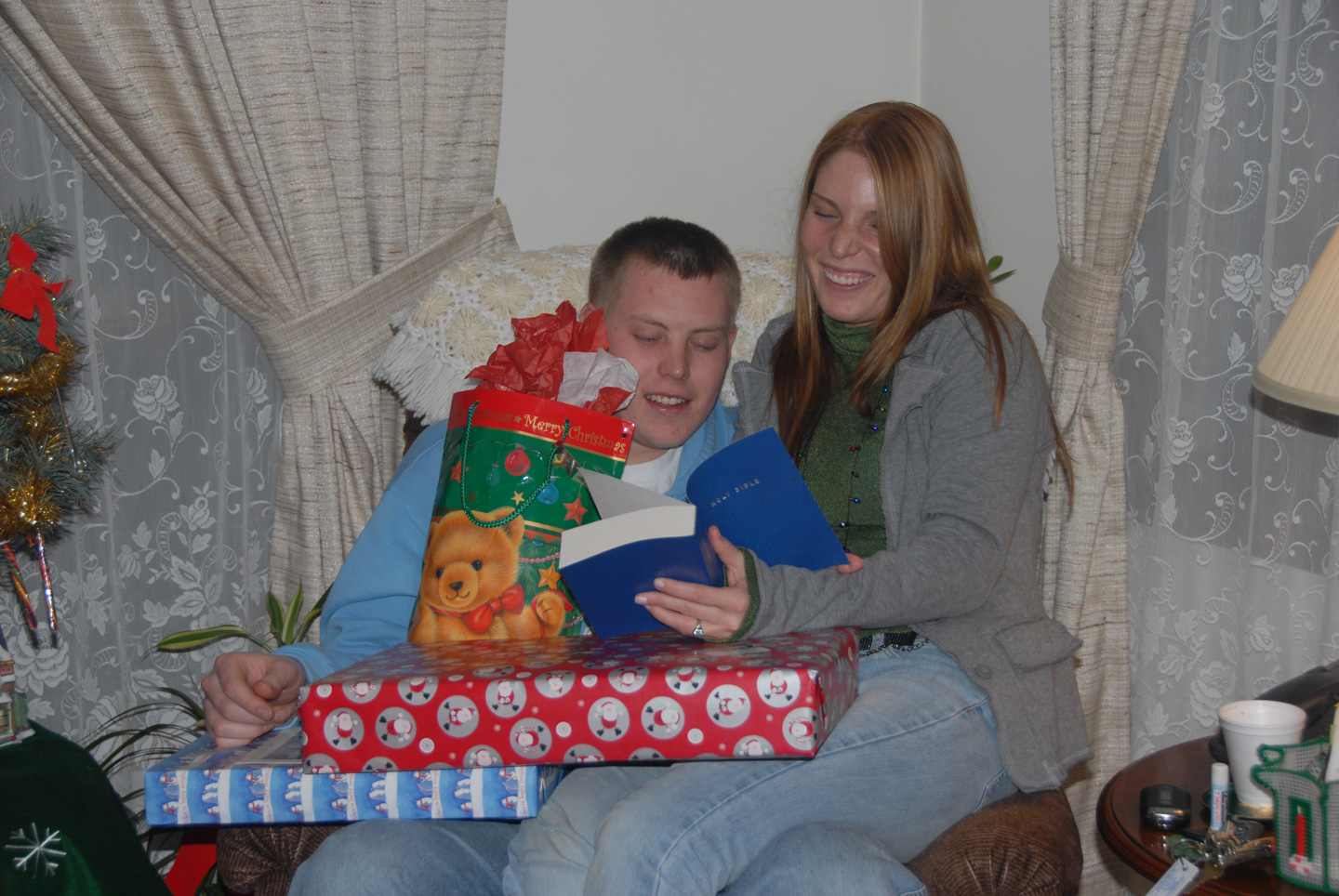 gifts piled on Pat and Fallyn