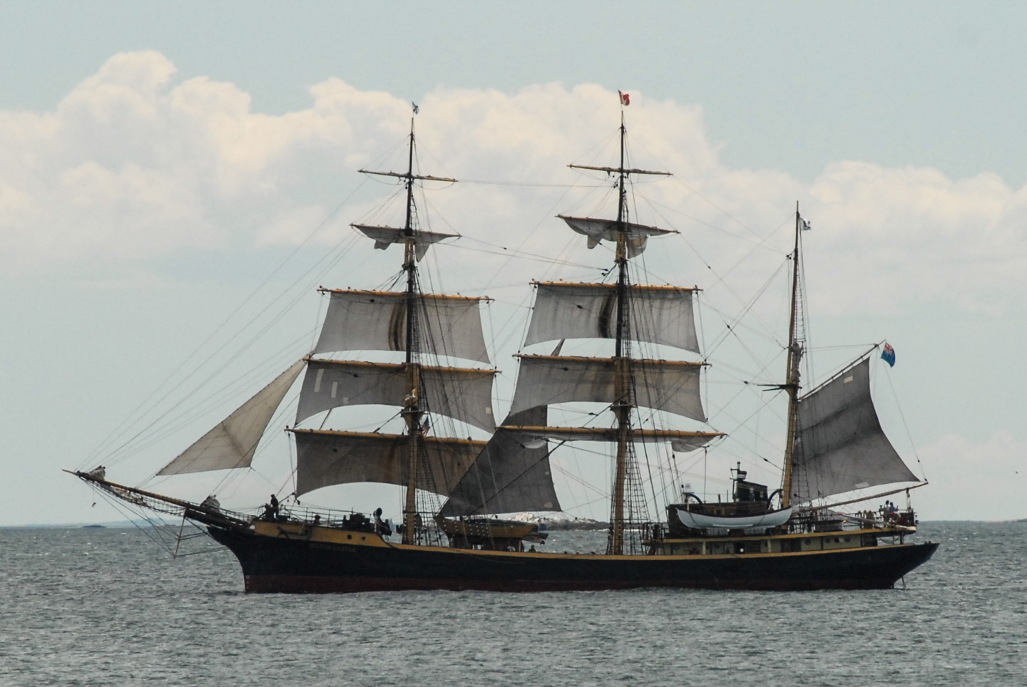 Tall ship with full sails